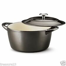 Tramontina Enameled Cast Iron 6.5 Qt. Covered Round Dutch Oven Titanium