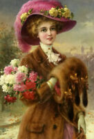 Oil painting emile vernon - winter beauty - noble lady woman female & flowers