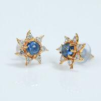 14 kt. Natürliche blaue Saphir- und Diamantohrringe aus Gold