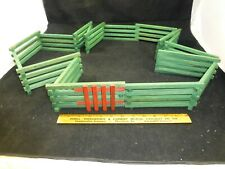 """Vintage Green Wood Christmas/Putz Tree Fence with Red Gate Door - 120"""""""