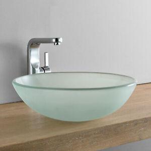 [neu.haus] Waschbecken rund Waschschale Ø42cm Milch Glas Aufsatzbecken WC & Bad