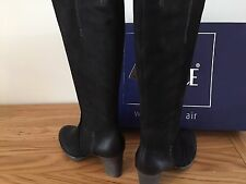 CAPRICE LONG BOOTS 9-25500-21 WALKING ON AIR Black SIZE 6.5/40 3 INCH HEEL & ZIP