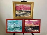 Three Morris Katz Original Framed Seascape Oil Paintings Framed Signed Dated