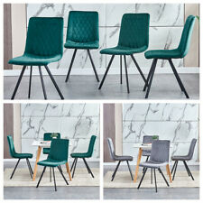 Set of 4 Velvet Dining Chairs High Back Metal Legs Kitchen Dining Room Furniture