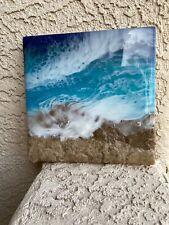 resin art beach on wood epoxy artwork 8x8in  Ocean waves