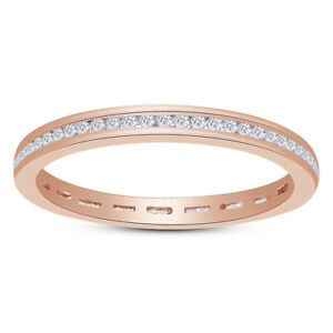 10K Rose Gold Eternity Stackable Wedding Band Ring Endless Simulated Diamond