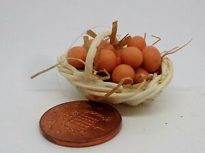 1:12 Dozen Brown Eggs In A Basket Dolls House Miniature Food