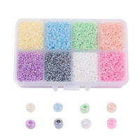 12500pcs/Box Assorted 12/0 Glass Seed Beads Tiny Ceylon Loose Spacers Round 2mm