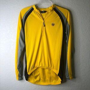 Canari Cycling Jersey Size  L Long Sleeve 1/2 Zip Yellow/Black/Grey Reflective