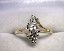 14K Yellow Gold Diamond Cluster Ring .16 TCW Size 7