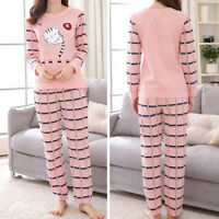 Women Lady Sleepwear Long Sleeve Pajamas Sets Cat Printing Home Suit Nightwear