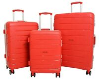 Exclusive Metal Frame 4 Wheel Suitcases Red Solid Hard Shell Luggage Travel Bags