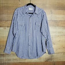 Genuine Roebucks Made In U.S.A. Vintage Pearl Snap Blue Button Up Shirt Large