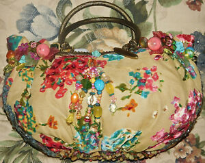 Mary Frances Purse Yellow Beige Embellished Sequins Stones Beads Metal Ring Bag