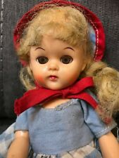 "1950's Pma Plastic Molded Arts Hard Plastic Strung 8"" Doll Joanie Pigtails"