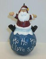 Santa Claus Ho Ho Snow Signed Pat Olson Christmas Ornament