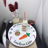 Christmas plate and milk bottle Decals - Personalised Santa Cookie Plate Decals