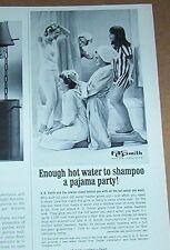 1966 print ad - AO Smith gas hot water heaters Teen Girl pajama party shampoo AD