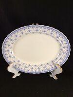 """SPODE - Fleur De Lys - BLUE - No Trim - 13"""" OVAL serving platter"""