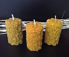 3 PCS NATURAL HANDMADE BEESWAX CANDLES from beekeeper