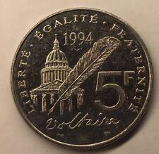 5 Francs Voltaire 1994 Monnaie Française Commémorative TTB MINIMUM