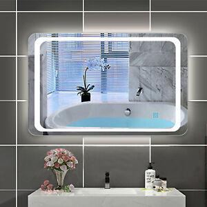 LED Badspiegel 60x80 cm beleuchtet mit Touch Beschlagfrei Wandspiegel mit Licht