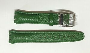 Replacement 17mm Leather Watch Strap in Green for Swatch Metal Buckle