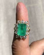 Wow 18k Yellow Gold Natural Emerald & Diamond Ring 6.48ctw 10.7g