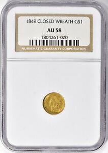 1849 Closed Wreath Gold Dollar $1 NGC AU 58