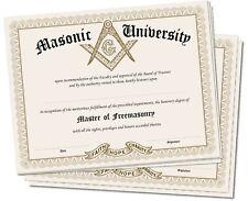 Lot of 5 - Blank Masonic University Freemason Diploma Certificate Freemasonry
