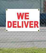 2x3 We Deliver Red & White Banner Sign New Discount Size & Price Free Ship