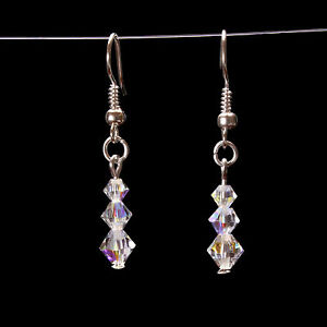 Crystal Clear Ab Graduated Earrings using Swarovski Elements