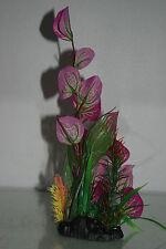 aquarium 2 x détaillé réaliste Taille plante en plastique violet & vert 9x5x24