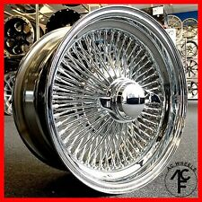 15x7 STD 100 SPOKE WIRE WHEELS STRAIGHT LACE ALL CHROME RIMS (4pcs)