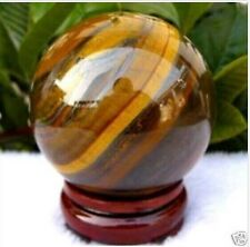 AAA 50mm Natural Tiger's Eye quartz crystal sphere ball + stand