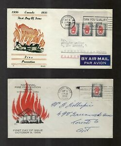 Canada 1956 Fire Prevention 5c #364 cachet FDCs - 5c domestic, 15c UPU to France