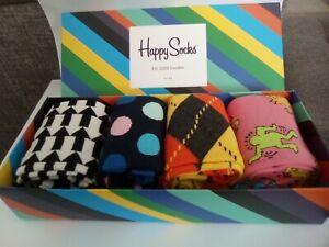 Mens Gift Boxed Socks Happy Socks 4 Pair Pack Fun Bright Unisex Size 7½ – 11½ UK