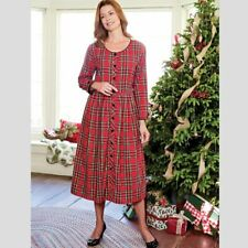 LANZ OF SALZBURG Cotton Plaid Maxi Dress Size L Red Modest Holiday Christmas