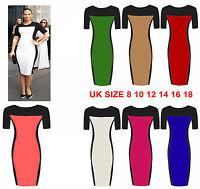 Womens Celeb Monochrome Fitted Ladies Pencil Bodycon Midi Dress Plus size Dress