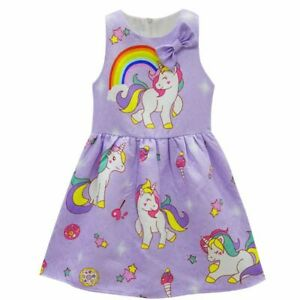 Baby Girls Unicorn Dress For Birthday Party Sweet Girl Cartoon Horse Clothes