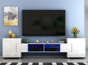 Modern Large TV Unit Stand Cabinet White Matt Body and High Gloss Doors FREE LED