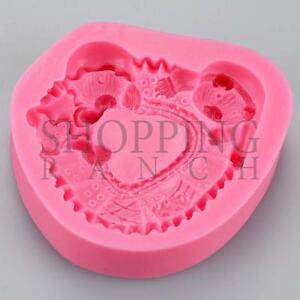 Bears Asleep Silicone Mould Cute Cupcake and Cake Topper Teddy Fondant Sugarcraf