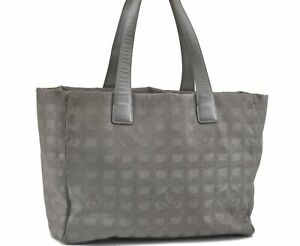 Authentic Chanel New Travel Line Shoulder Tote Bag Nylon Gray D8449