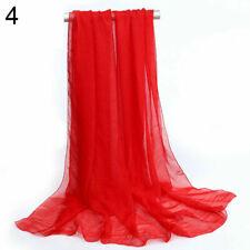 2 pcs Women Ladies Long Chiffon scarf cover wrap 162cm x 70cm Nylon NEW Red