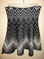 Max Studio Bone Black Zig Zag Chevron Flare Skirt M/L NWT