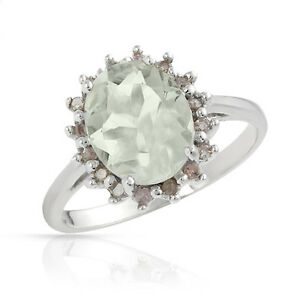 EXQUISITE SOLID 10K WHITE GOLD GENUINE GREEN AMETHYST / 0.17 CTW DIAMOND RING 7