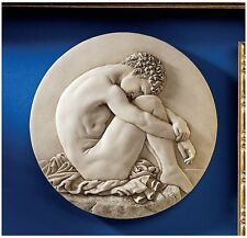 Young Male Nude Seated Beside the Sea Sculptural Wall Roundel Natural Marble