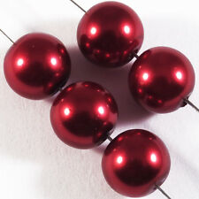 20 perles Nacrées 10mm Rouge Bordeaux verre de Bohème