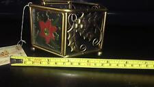 """Metal & Glass Decorative Candle Holder ~ 3""""h x 5""""w ~ Christmas Decor (A6)"""