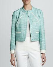 $440 MAGASCHONI Designer Aqua Tweed White Vegan Leather Trim Jacket Sz 12 NWT